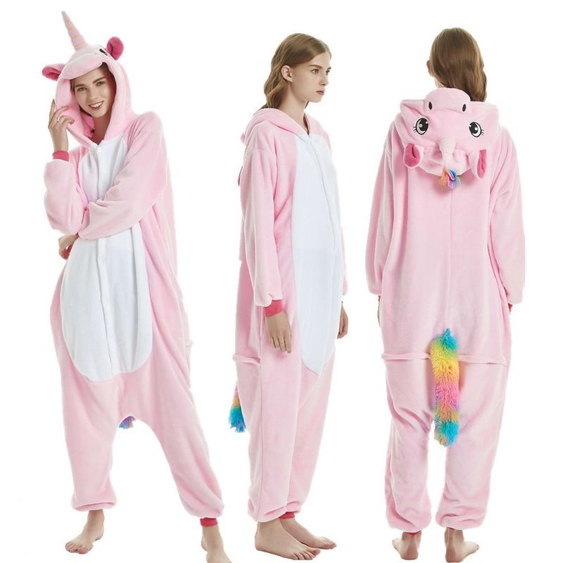 Pink Pegasus Women Pajama Suit Kigurumis Animal Unicorn Onesie Homewear Colorful Tail Sleepwear Flannel Adult Pijamas Party 1