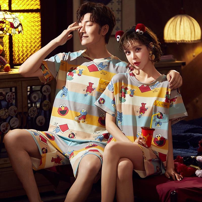 Cotton Couple Pajamas Set Short Sleeve Cartoon ELMO Pyjamas Summer Homewear Sleepwear Pijama Femme Nightgowns Nightwear XXXL 1