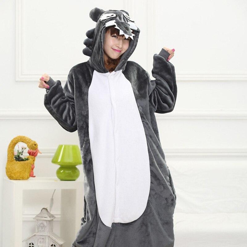 Animal Pajama Gray Wolf Kigurumis Women Adult Onesie Funny Party Home Jumpsuit Girl Winter Sleepwear Outfit Christmas Pijama 1