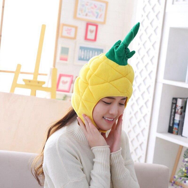 Cartoon Carrot Pineapple Hat Cosplay Funny Hats Kawaii Headgear Headwear Women Men Adult Halloween Festival Party Warm Caps 3