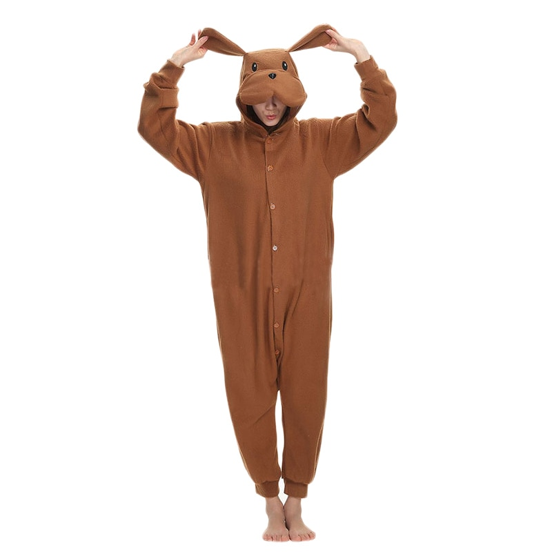 Brown Dog Kigurumis Funny Onesie Animal Jumpsuit Adult Men Women Sleepwear Winter Outfit Cartoon Cute Pajama Loose Warm Overalls 1