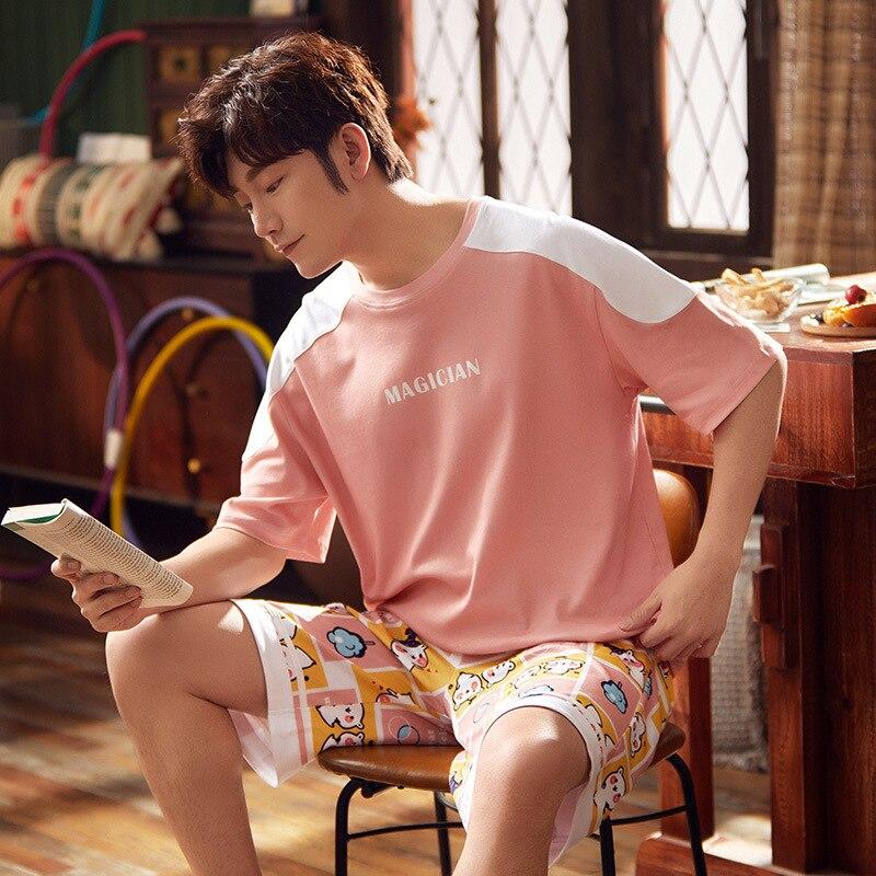 Korean Couple Pajamas Set Cartoon Cute Sleepwear Short Sleeve 2PCS Homewear Pyjamas Women Men Lovers Pajamas Nightgowns XXXL 3