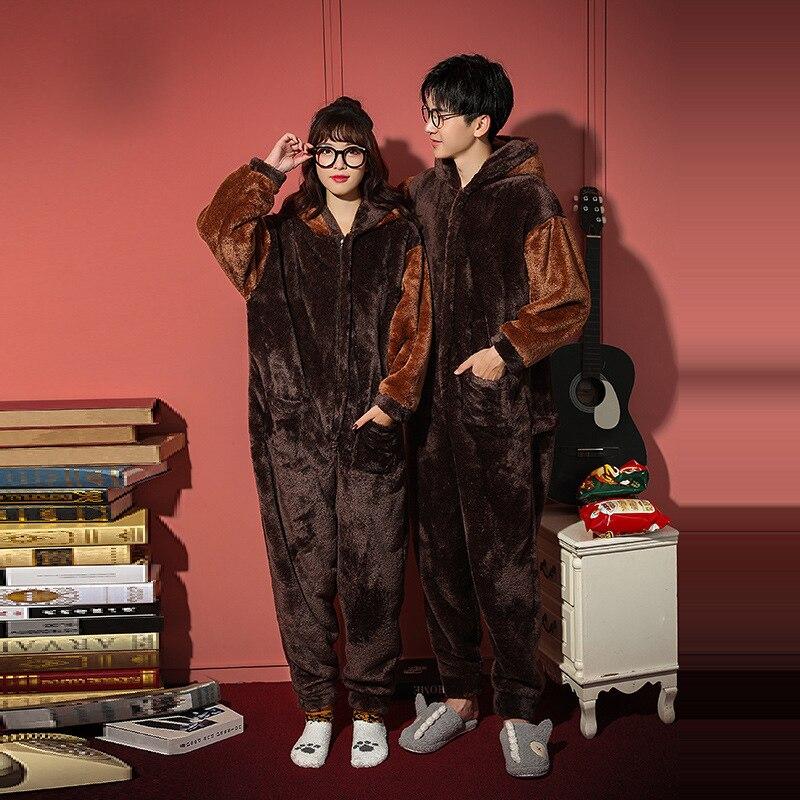 Couples Pajamas  Jumpsuits Winter Thicken Pyjamas Women Men Cartoon Dog  Sleepwear Homewear SoftWarm Pijamas Onesie Plus Size 4