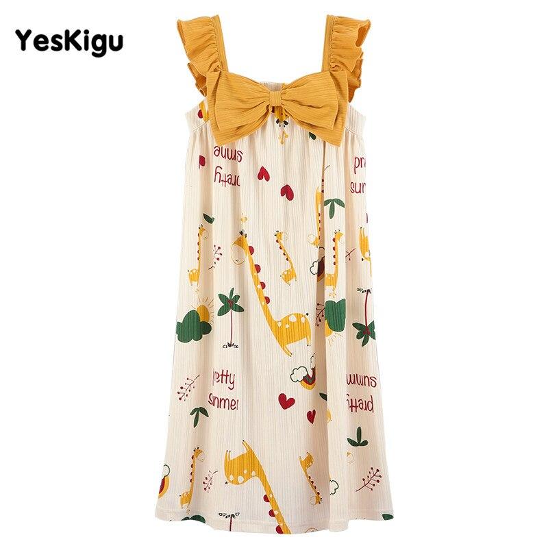 Summer Women Nightdress Girls Sleepwear Nuisette femme Cartoon Giraffe Night Dress Women Lovely SweetLeisureWear Night dress 6