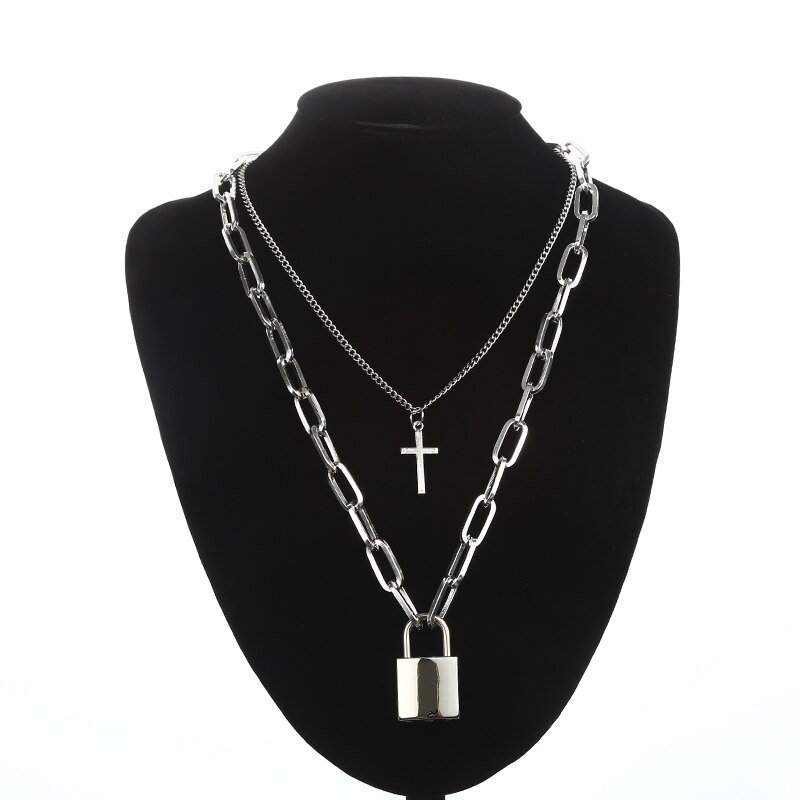 KPOP Layered Chain Necklace for Women Men Punk Fashion Cross Pendants Grunge Aesthetic Egirl Alternative Goth Jewelry Gifts 5