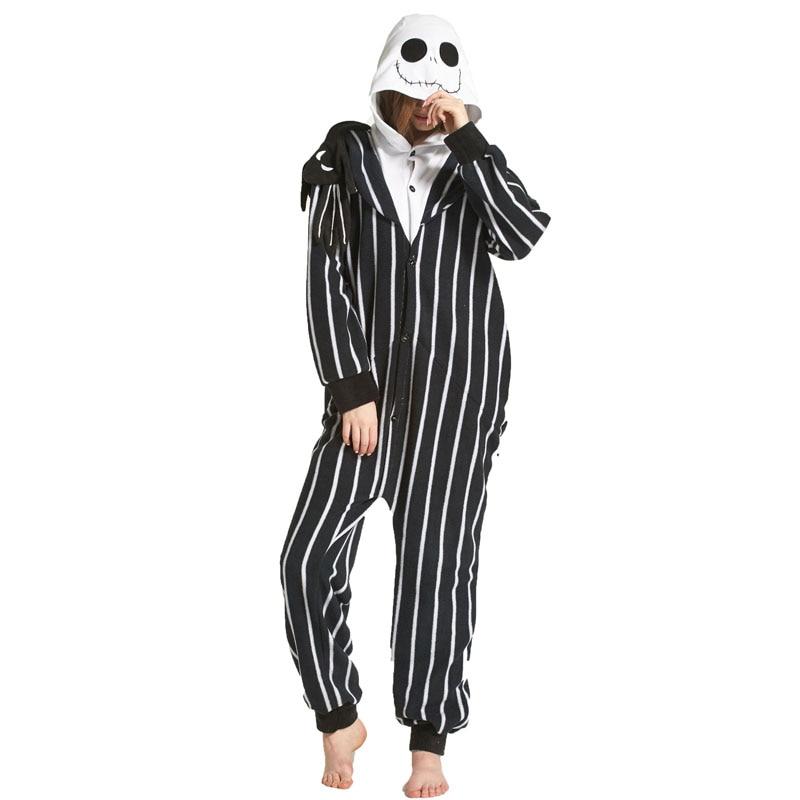 Skeleton Jack Kigurumis Women Pajama Onesie Polar Fleece Sleepwear Pyjamas Homewear Jumpstuits Men Adults Carnival Costume 1