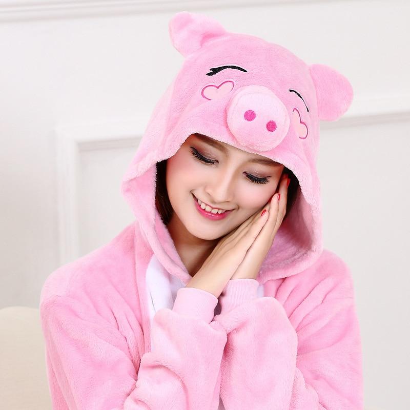 Women Kigurumis Pajama Onesie Pink Pig Funny Sleepwear Adult Party Suit Flannel  Overalls Cartoon  Homewear Unisex  costume 1