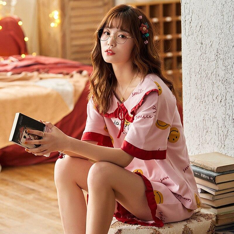 2PCS Women Pijama Casual Nightclothes Cotton Cartoon Pyjamas  Navy Collar Girl Sleepwear Home wear Pajama Shorts Femme Plus Size 4