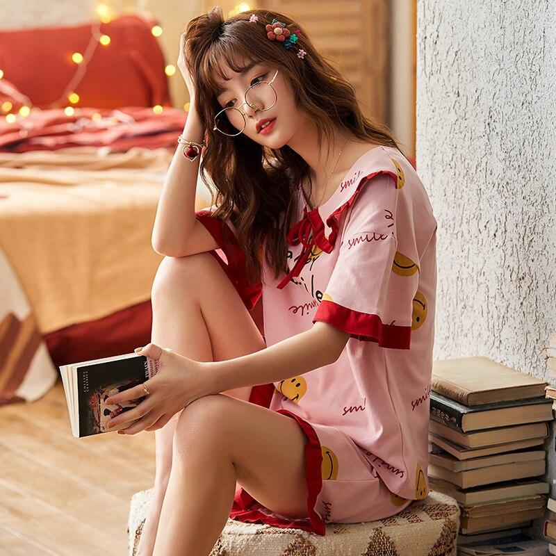 2PCS Women Pijama Casual Nightclothes Cotton Cartoon Pyjamas  Navy Collar Girl Sleepwear Home wear Pajama Shorts Femme Plus Size 2