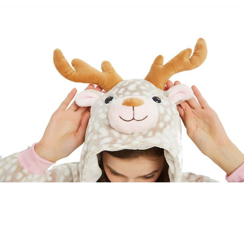 Milu Deer Animal Kigurumis Women Pajama Suit One Piece Adult Flannel Soft Pajamas Sleepwear Homewear Festival Party Costume 5