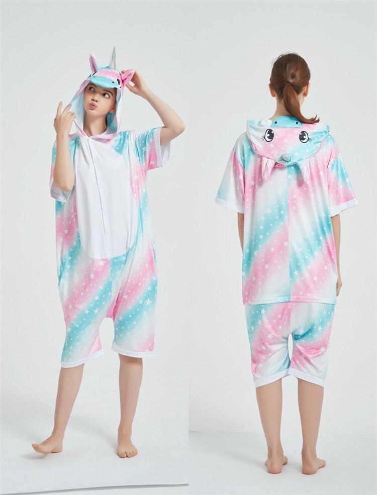 Rainbow Unicorn Kigurumis Women Onesie Cosplay Short Sleeve Animal Jumpsuits Pegasus Girl Pajama Funny Cute HomeWear Costume 10
