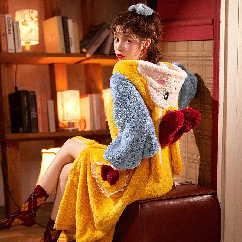 Thicken Warm Women Nightgown Cute Cartoon Cat Hooded Bath Robe Nightdress Kitty Sleepwear Home wear Pajamas Nightwear 3