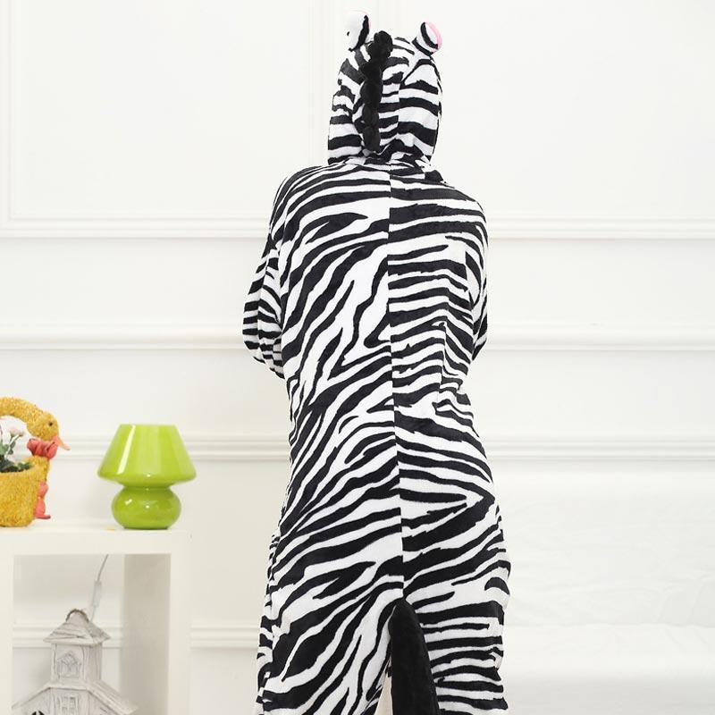 Animal Kigurumis Zebra Onesie Pajama Women Girl Home Jumpsuit Funny Winter Warm Sleepwear Halloween Party performance Outfit 2