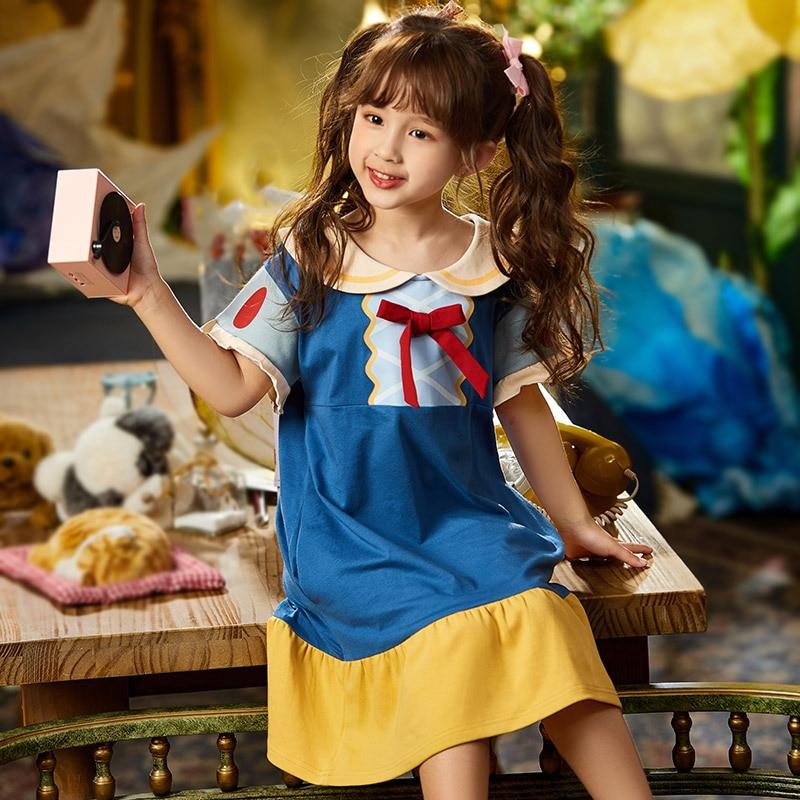 Summer Children Nightdress Sleepwear Cartoon Bowknot Cute LeisureWear Girls Nightgown Dressing Gown Dress Child Loose Dress 1