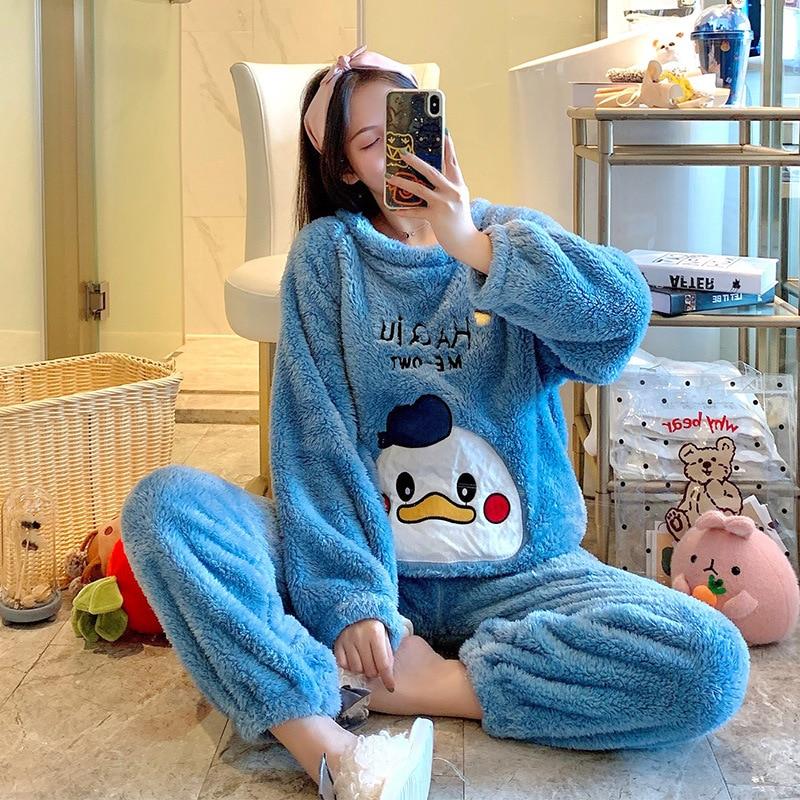 Cartoon Winter Thicken Pajamas Women Duck Cat Cute pyjamas Set CoralFleece warm Sleepwear longsleeve Korean loose girl Pijama 1