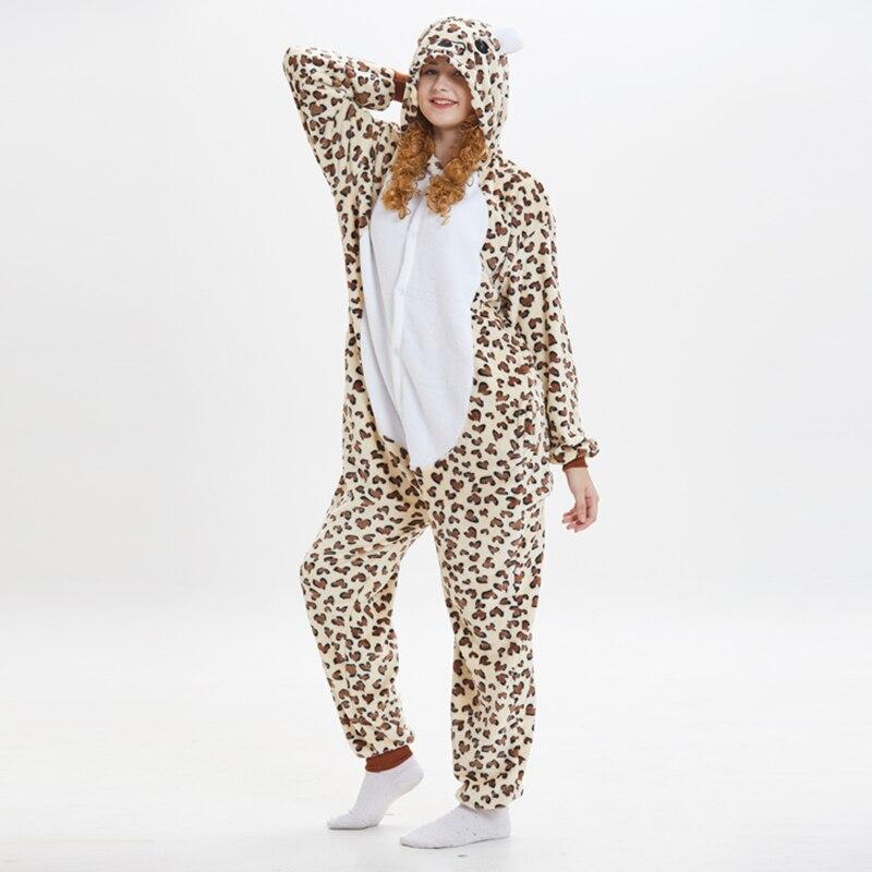 Leopard bear Animal Women Pajama Suit Onesie Kigurumis Homewear Sleepwear Flannel Soft One Piece Unisex Pijamas Party Costume 2