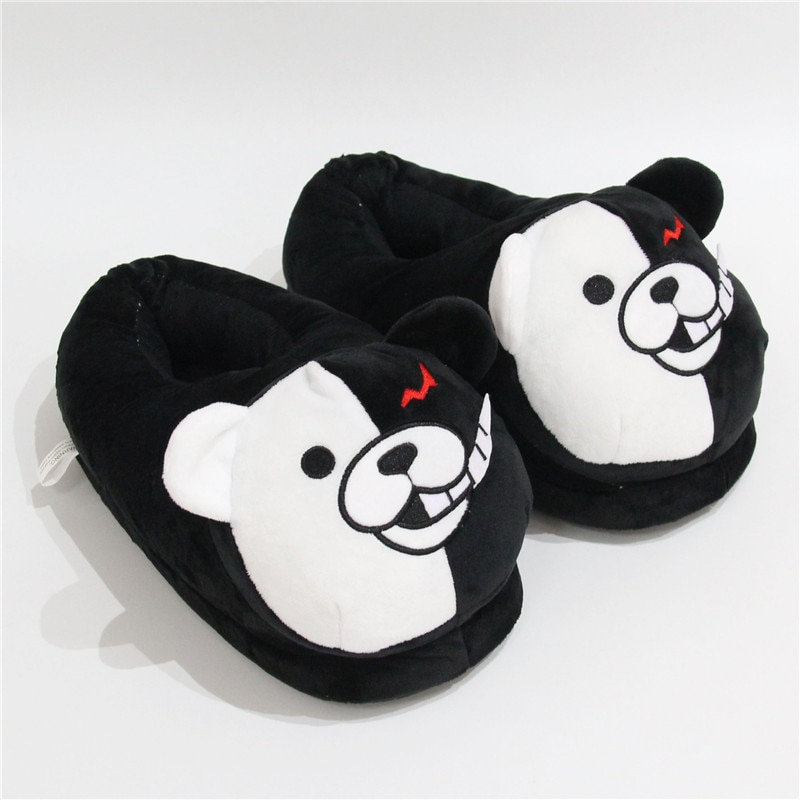 2021 Plush Slippers Women Men Monokuma Kigurumis Black White Anime Bear HomeShoes Cartoon Cute House Slipper 4