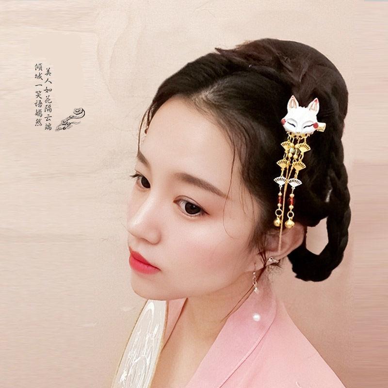 Japanese Anime Women Hair Headdress Fox Kawaii Tassel Step Shake Hairpin Cosplay Props Girl Clothing Accessories 3