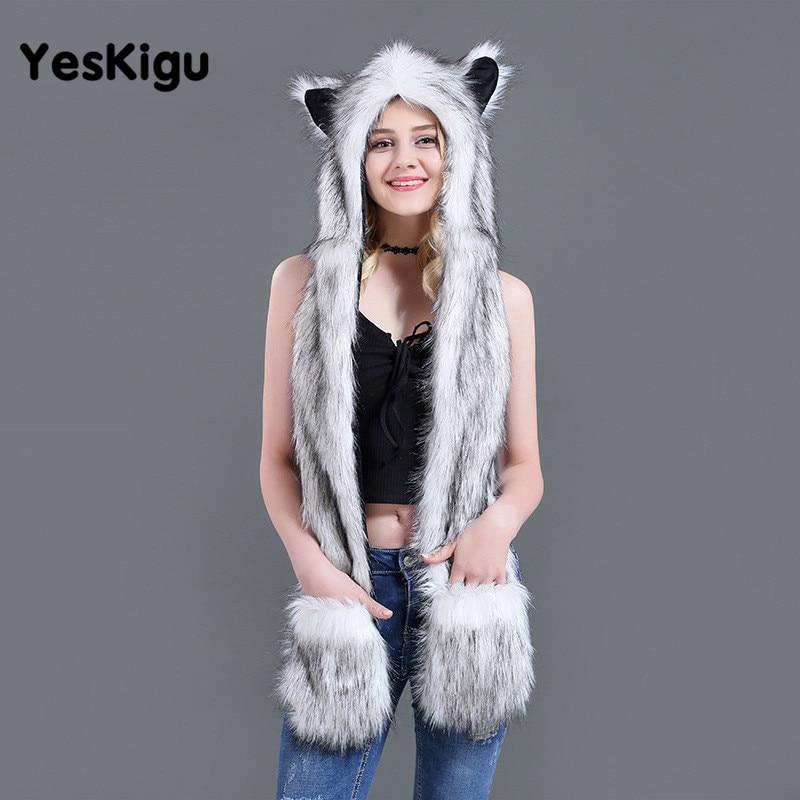 2021 AnimalPlush Fur Hat Cosplay Funny Hats Kawaii Fox Panda Scarves Gloves Cap Headgear Headwear Women Men Warm Soft Hats 1