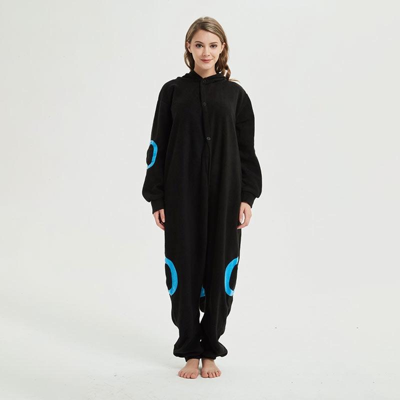 Blue Black  Kigurumis Anime Cartoon Pajama for Adult Unisex Couple Onesie Polar Fleece Outfit Warm Sleepwear Cute Suit 4