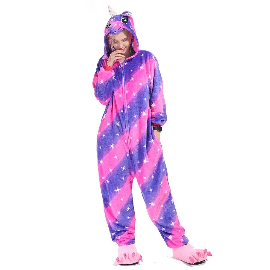 Kigurumis Animal Stars Diamond Pegasus Women Pajama Suit Onesie Homewear Sleepwear Flannel Adult One Piece Pijamas Party Costume 3