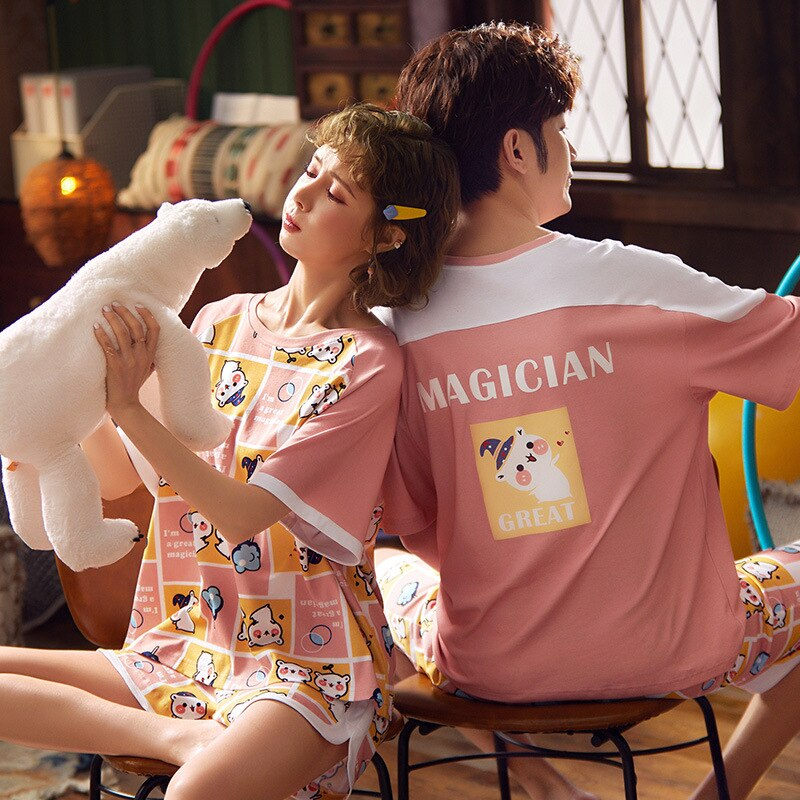Korean Couple Pajamas Set Cartoon Cute Sleepwear Short Sleeve 2PCS Homewear Pyjamas Women Men Lovers Pajamas Nightgowns XXXL 5