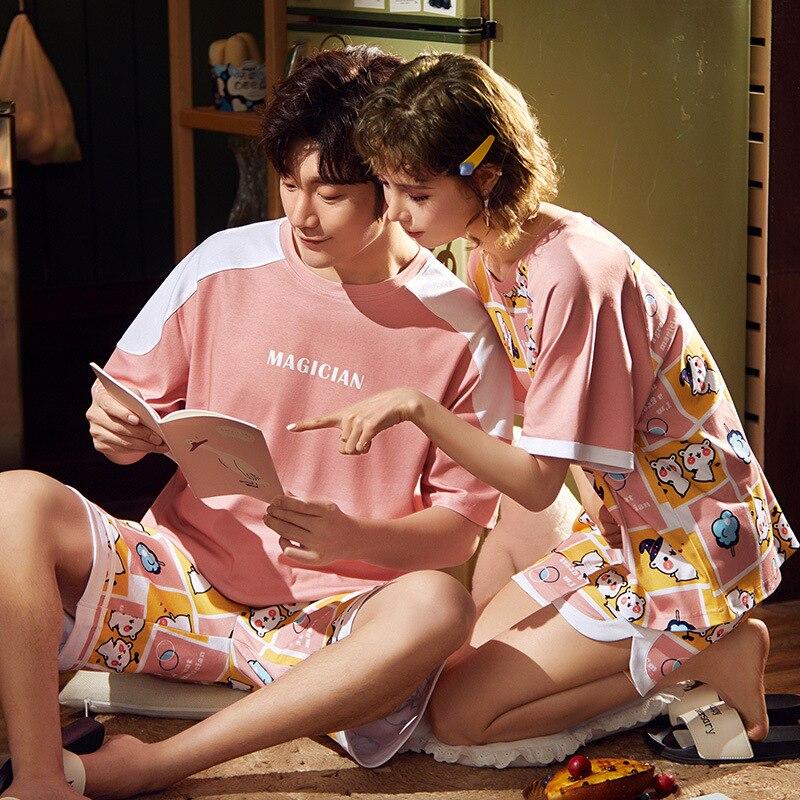 Korean Couple Pajamas Set Cartoon Cute Sleepwear Short Sleeve 2PCS Homewear Pyjamas Women Men Lovers Pajamas Nightgowns XXXL 6