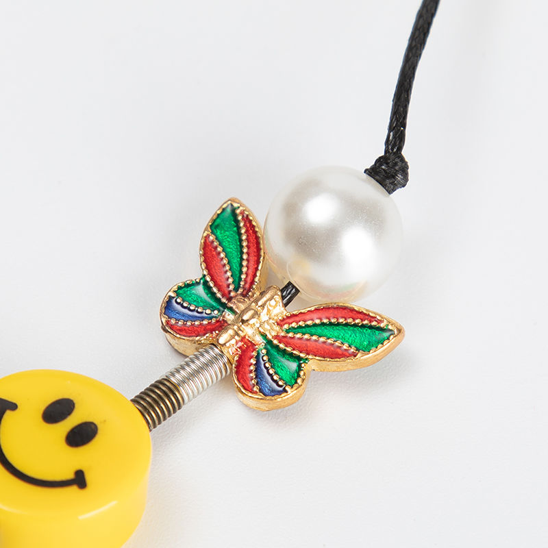 Kpop Fashion Rope Necklace for Men Dice Skull Pearl Yellow Smiley Face Multicolor Butterfly Necklace Hip Hop Bracelet 2020 New 6