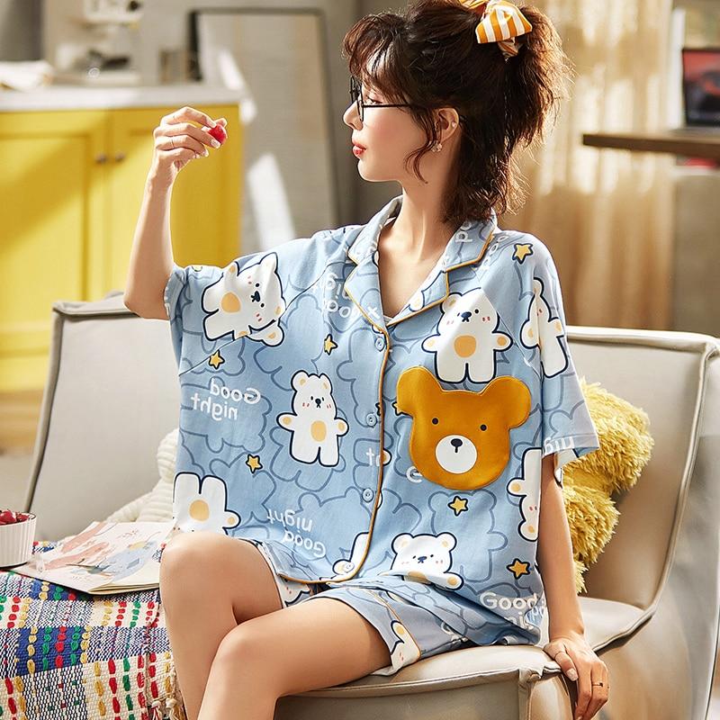 Women Pajamas Cartoon Korean Pyjamas Sets Sleepwear ShortSleeve Homewear Nightshirt Cute Bear Girl Pajama 2PCS 1