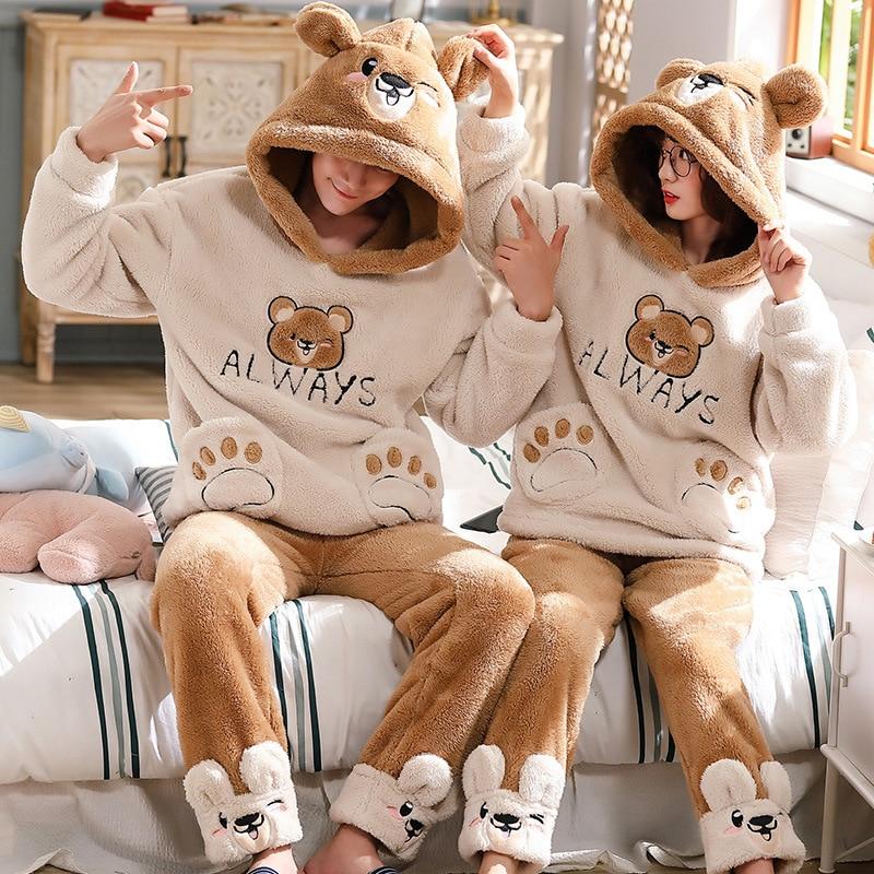 Couple Pajamas Set Winter Thicken Pyjamas Women Men Cute Bear Sleepwear Pijama Homewear Two Piece Suit Pijamas Mujer 1