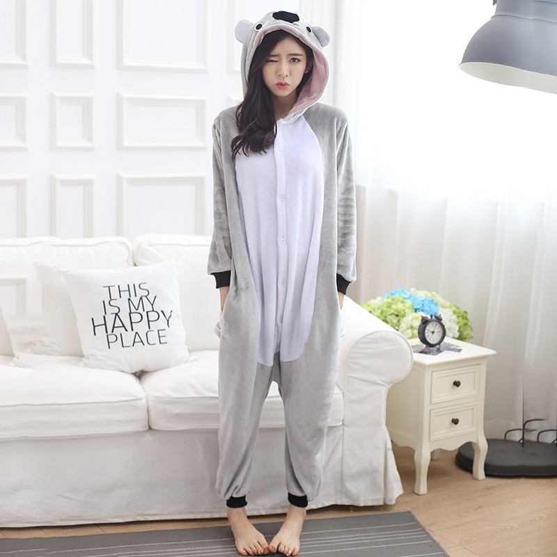 Animal Koala Sleepwear Gray Cute Pajama Adult Women Girl Kigurumis Winter Warm Soft Flannel Onesie Festival Party Outfit Overall 1