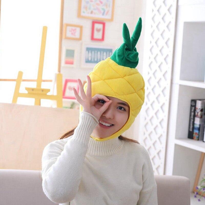 Cartoon Carrot Pineapple Hat Cosplay Funny Hats Kawaii Headgear Headwear Women Men Adult Halloween Festival Party Warm Caps 2