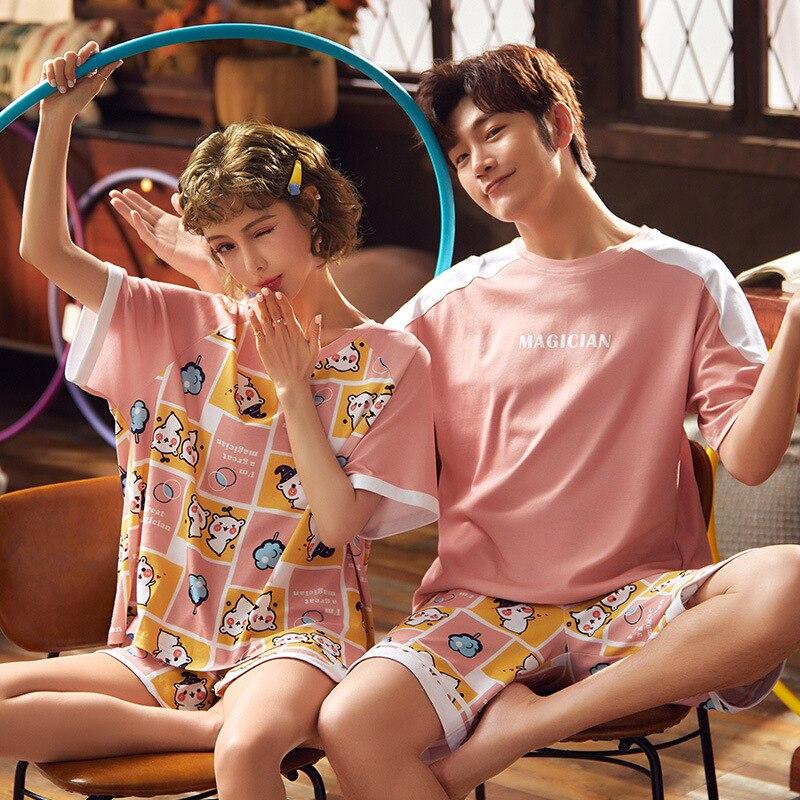 Korean Couple Pajamas Set Cartoon Cute Sleepwear Short Sleeve 2PCS Homewear Pyjamas Women Men Lovers Pajamas Nightgowns XXXL 2