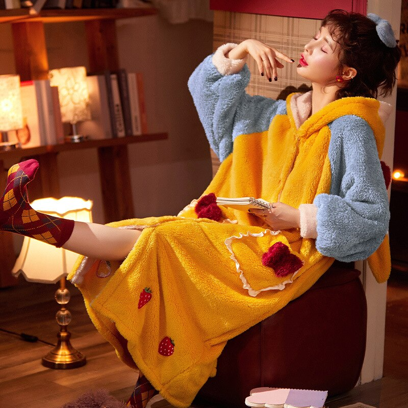 Thicken Warm Women Nightgown Cute Cartoon Cat Hooded Bath Robe Nightdress Kitty Sleepwear Home wear Pajamas Nightwear 2