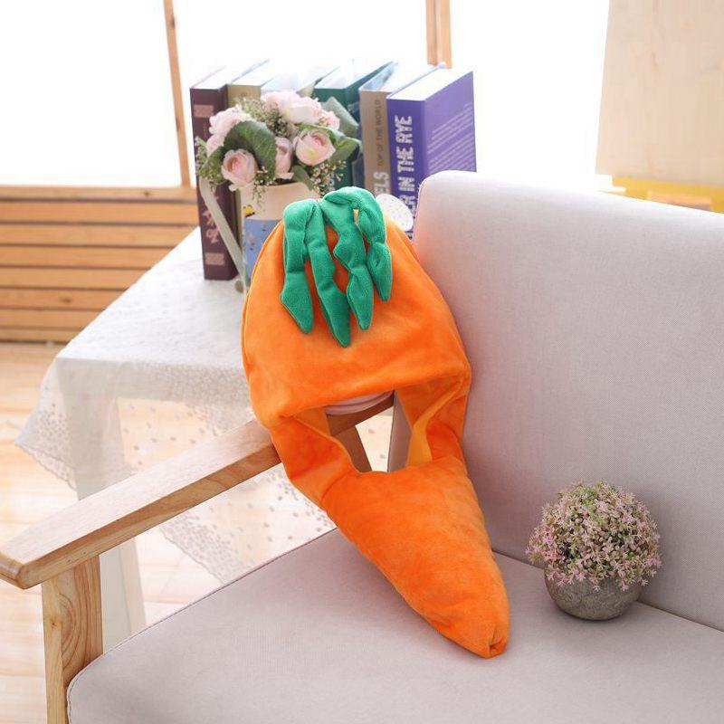 Cartoon Carrot Pineapple Hat Cosplay Funny Hats Kawaii Headgear Headwear Women Men Adult Halloween Festival Party Warm Caps 6
