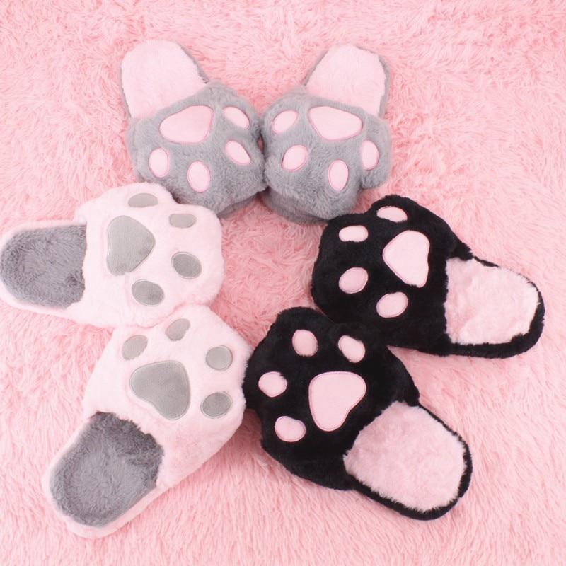 2020 Plush Cotton Slippers Women Men Winter Cartoon Kitty Kawaii Slippers Cat Soft SlippersHousehold Shoes Slides 1
