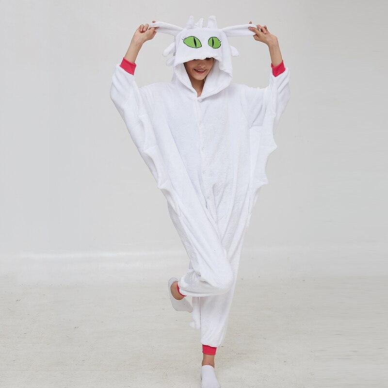 Animal Kigurumis Onesies Women Pajama Homewear Adult Cartoon Toothless Dragon Rompers Unisex Flannel Sleepwear Costume Apparel 2