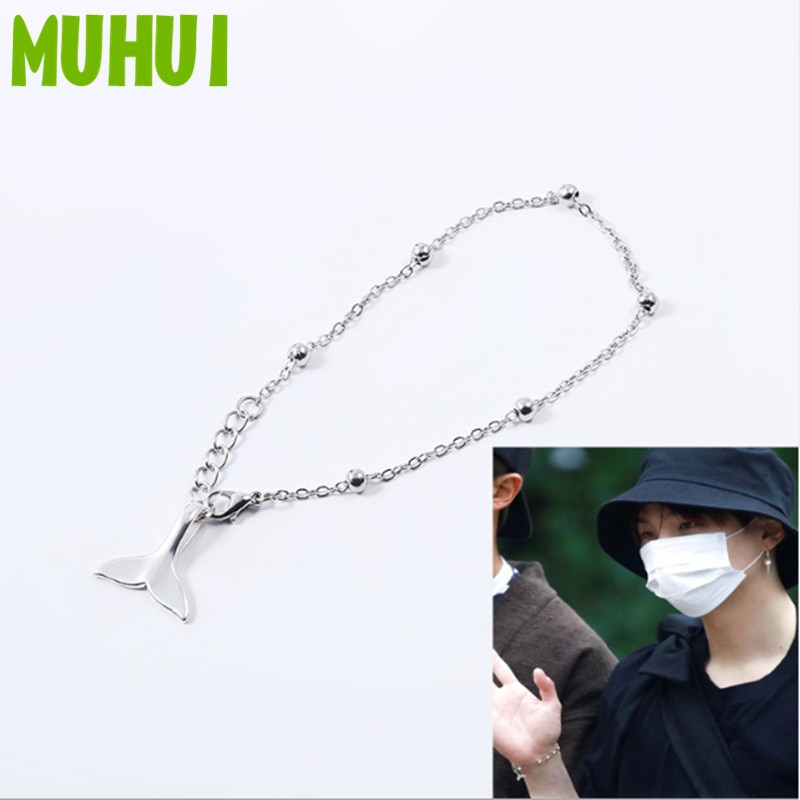 Kpop SUGA Dolphin Tail Pendant Charm Bracelet Women Bileklik Men Jewelry B076 1