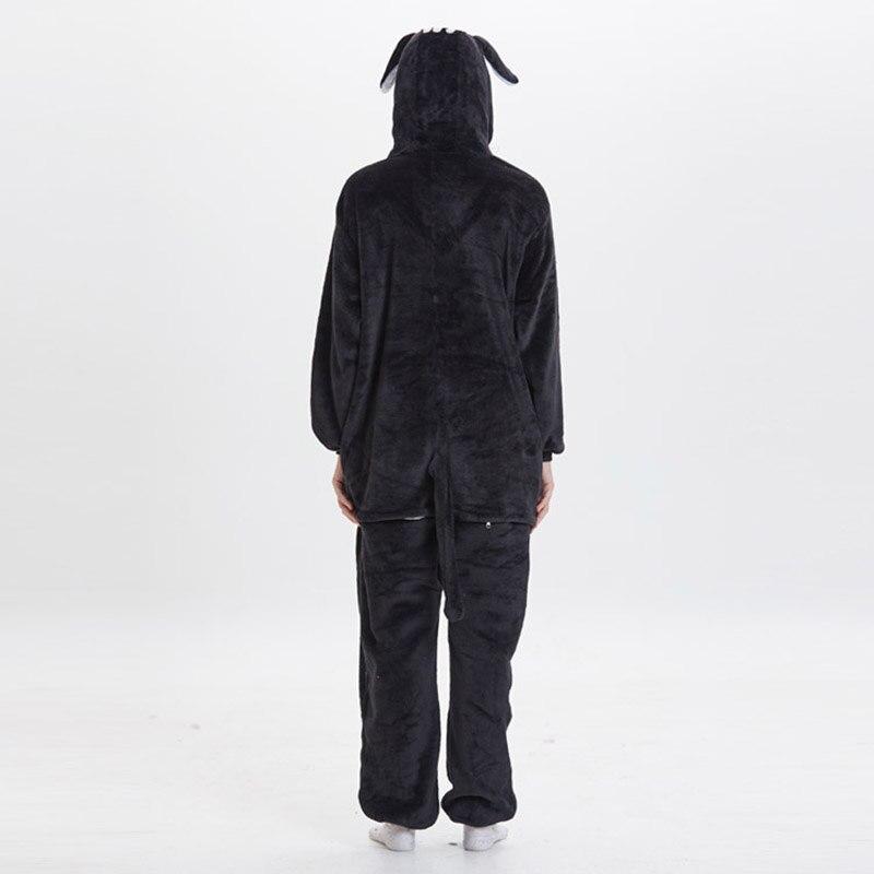 Kigurumis Women Pajama Suit Onesie Black Cat Animal Homewear Adult Flannel Soft  Winter Pijamas Party Sleepwear Costume 5