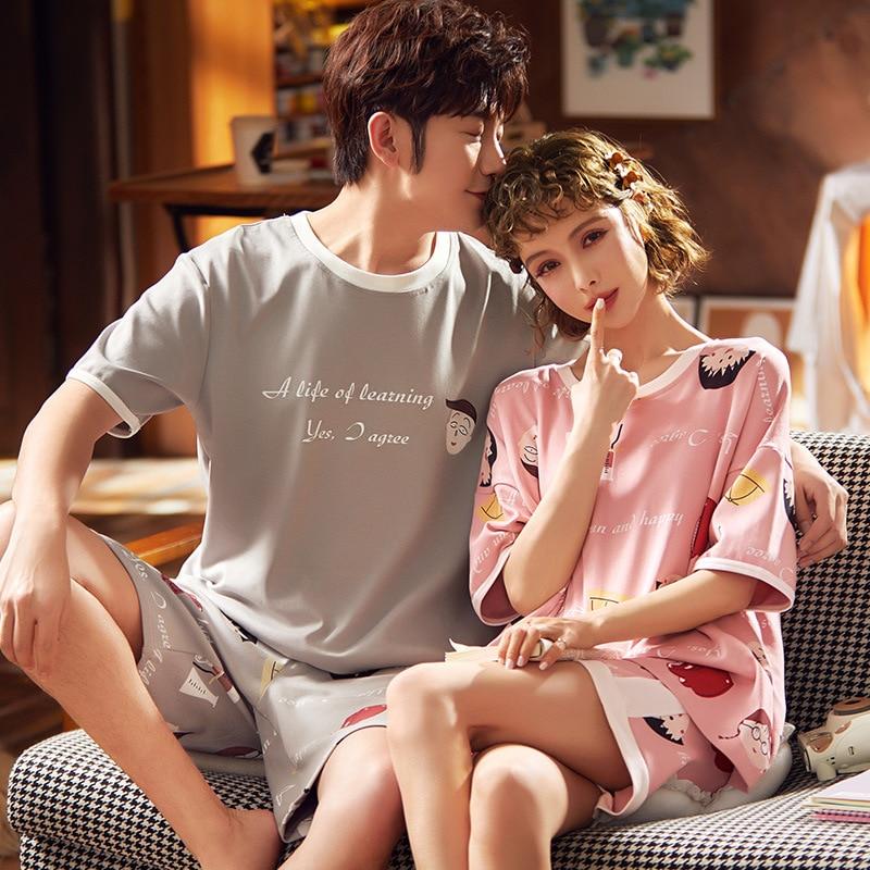 Summer Couple Pajamas Set Cotton Sleepwear Pyjamas Women Loose Cute Nightwear Lovers Pajamas Homewear Pijama Mujer Pyjama Femme 1