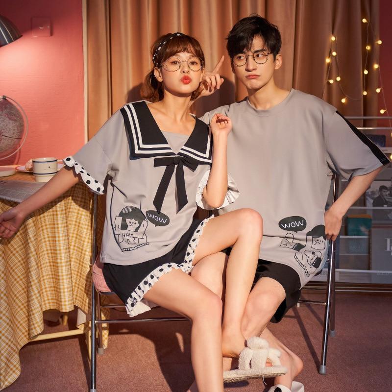 Couples Pajamas Set Women Men Cartoon Pattern Cute Summer Pyjamas Sleepwear LooseKorean Femme Pijama Sets Nightwear 1
