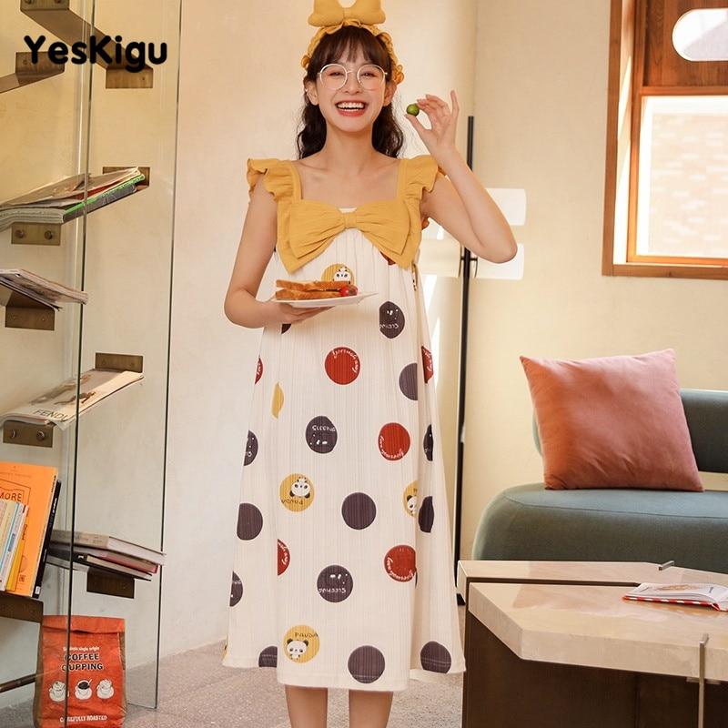 Summer Women Nightdress Adult Cartoon Panda Cute Night Dress Women Gallus SweetLeisureWear Nuisette Femme Sleepwear 1