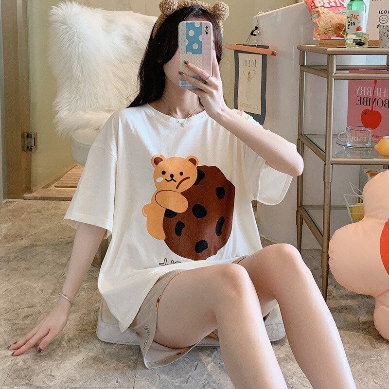 Women Pajamas Sets Cartoon Cotton Bear Print Pattern Pajamas ShortSleeve Homewear Sleepwear Loose Pijamas Female 1