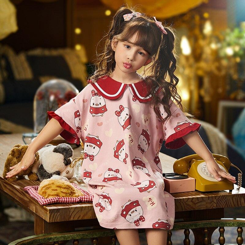 Summer Children Nightdress Sleepwear Soft LeisureWear Cartoon Cute Chick Printing Girls Nightgown Dressing Gown Dress Child 2