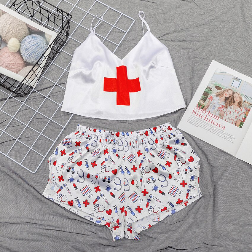 Sexy Silk Pijamas Women Medical Sign Pattern Print  pyjamas V Neck Sleeveless Satin Pijama mujer Nightgown Summer Pajamas 1