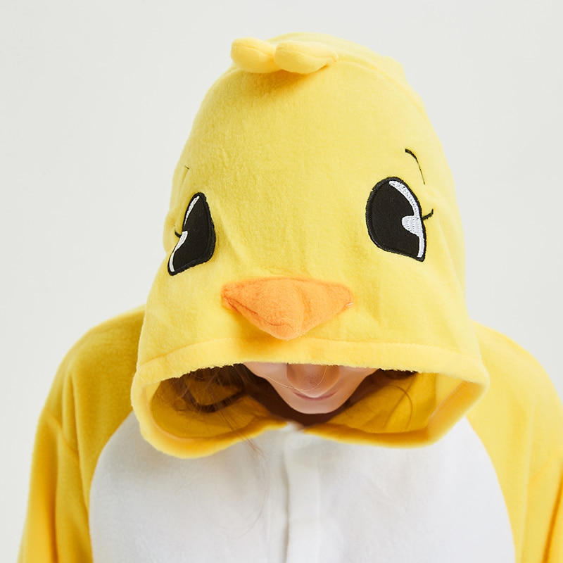 Yellow chick Animal Women Pajama Suit Sleepwear Homewear Adult Onesie Funny Polar Fleece Winter Pijamas Party Costume Plus Size 5