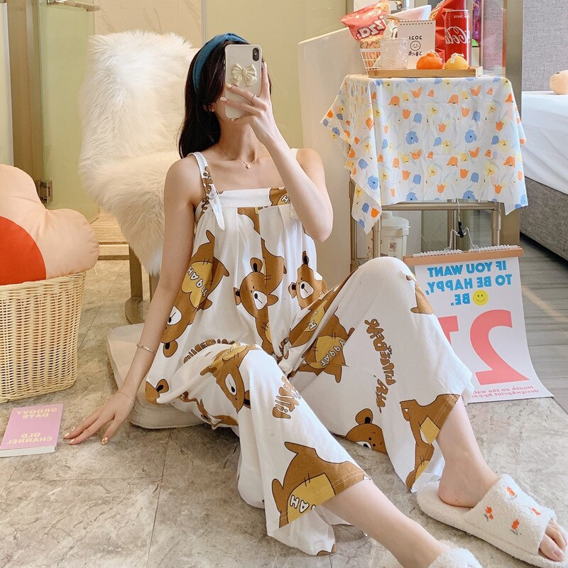 Summer Pajama Women jumpsuits One-piece Pyjamas Sleepwear Cartoon Cute Bear Printing Pajamas Girl CasualWear Home Korean Night 4