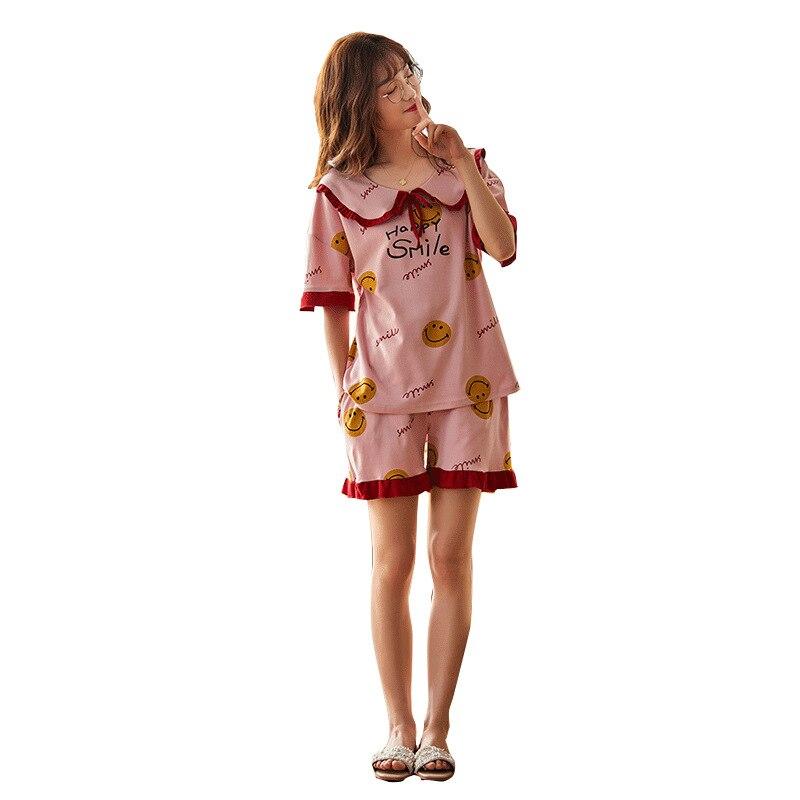 2PCS Women Pijama Casual Nightclothes Cotton Cartoon Pyjamas  Navy Collar Girl Sleepwear Home wear Pajama Shorts Femme Plus Size 5