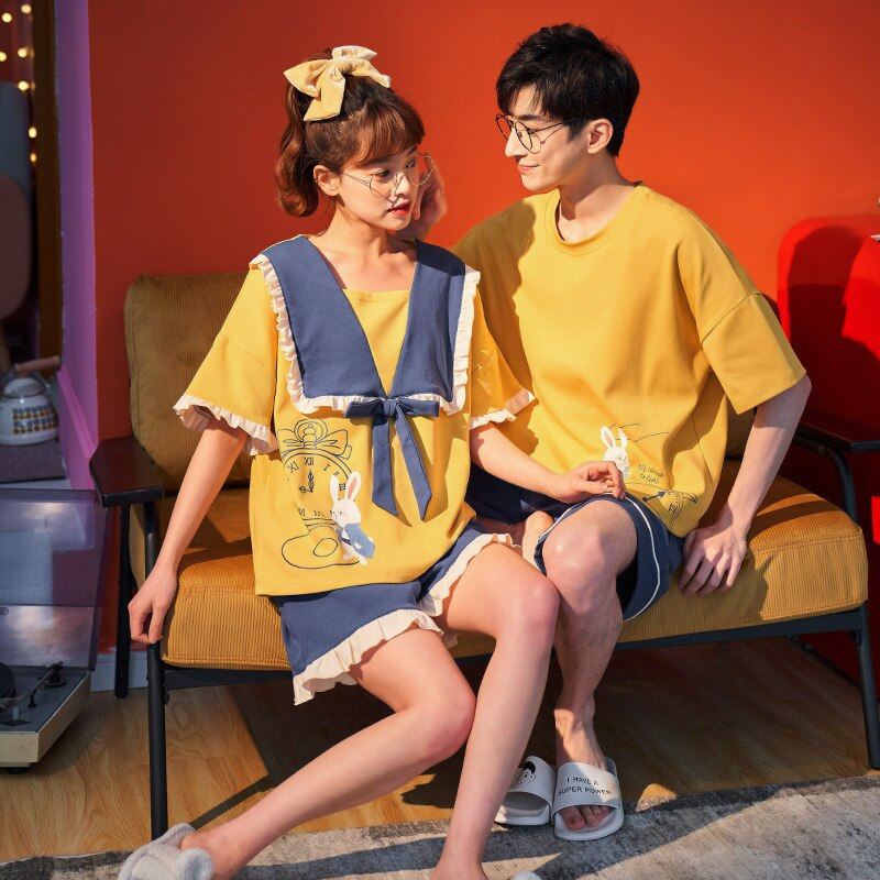Couples Pajamas Set Women Men Cartoon Printing Pyjamas Sleepwear Summer  Femme LooseKorean Pijama Nightgowns Plus Size 1