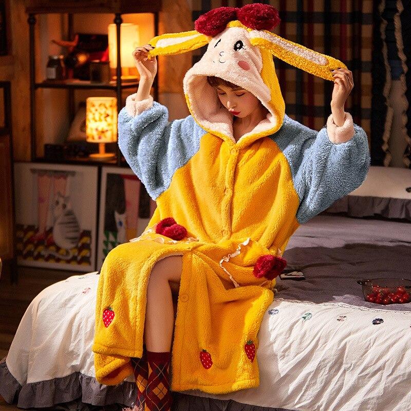 Thicken Warm Women Nightgown Cute Cartoon Cat Hooded Bath Robe Nightdress Kitty Sleepwear Home wear Pajamas Nightwear 1